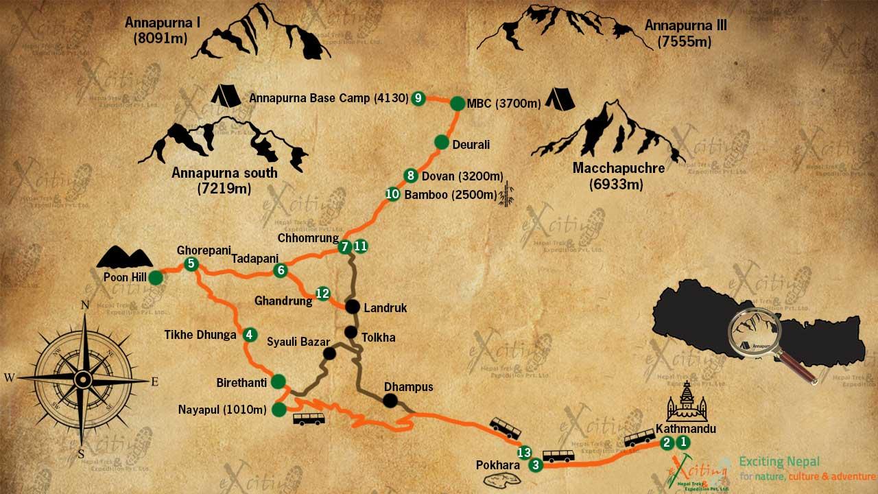 annapurna base camp trek map