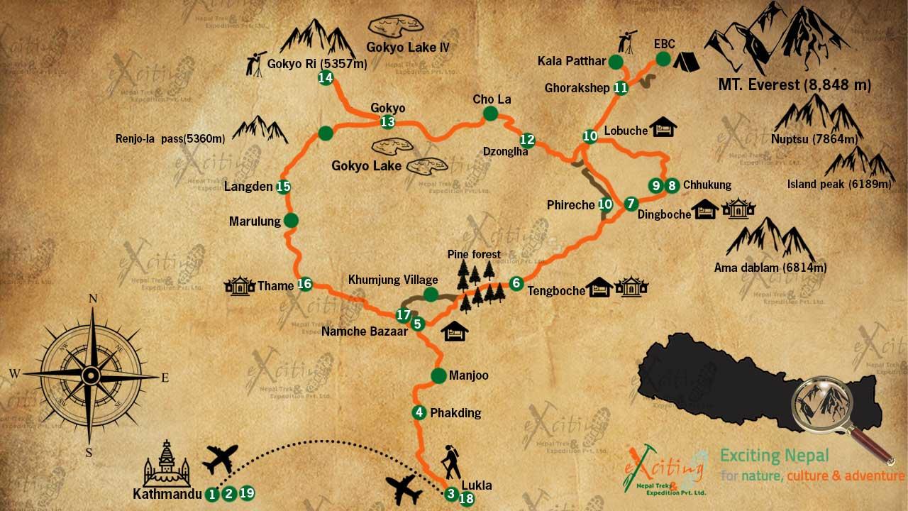 everest three pass trek map